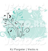 Vector of Green Floral Vines Grunge Background with Vines and Butterflies by KJ Pargeter