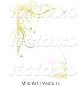 Vector of Green Floral Vines with Splatter Border Background Design by MilsiArt
