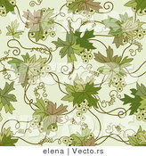 Vector of Green Floral Vines with Tendrils - Seamless Web Design Background by Elena