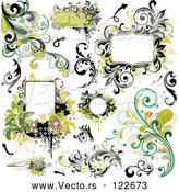 Vector of Green Grungy Design Elements Frames and Flourishes by OnFocusMedia