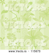 Vector of Green Hibiscus Flower and Stripes Background by Amanda Kate