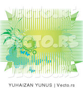 Vector of Green Horizontal Background with Lines, Vines and Butterflies by YUHAIZAN YUNUS