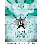 Vector of Green Jigsaw Puzzle Before Completing It by AtStockIllustration
