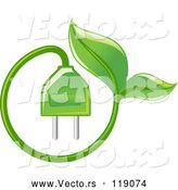 Vector of Green Leaf and Electrical Plug by Vector Tradition SM