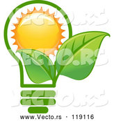 Vector of Green Leaf Lightbulb with a Sun by Vector Tradition SM