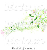 Vector of Green Music Notes with Pink Flowers and Vines - Background Border Design Element by Pushkin