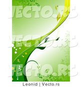 Vector of Green Organic Vine Background with the Stem Curving Upwards by Leonid