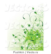 Vector of Green Organic Vines with Splatters - Background Design by Pushkin