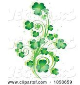 Vector of Green St Patricks Day Shamrock Vine Design Element by Pushkin