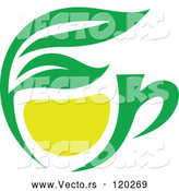 Vector of Green Tea Cup with Lemon and Leaves 1 by Vector Tradition SM