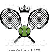 Vector of Green Tennis Ball and Crown with Crossed Rackets by Vector Tradition SM