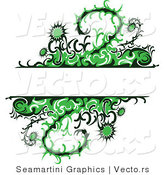 Vector of Green Thistle Vines and Flowers with Blank Copy Space Background by Vector Tradition SM