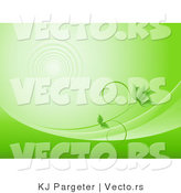 Vector of Green Vine Growing Along Waves with Water Ripples in the Background by KJ Pargeter
