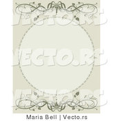 Vector of Green Vine Scrolls Above and over Blank Oval Picture Frame Space by Maria Bell