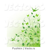 Vector of Green Vines and Swallows over Gradient Green to White Background by Pushkin