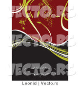 Vector of Green Vines over Red and Black Background by Leonid