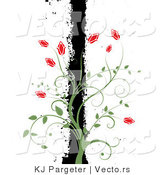 Vector of Green Vines with Red Flowers Climbing a Black Grunge Bar, over White Background by KJ Pargeter