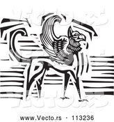 Vector of Griffin Creature - Black and White Woodcut Version by Xunantunich