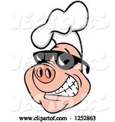 Vector of Grinning Pig Wearing a Chefs Hat and Shades by LaffToon