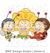 Vector of Group of 3 Happy Babies Wearing Bee, Flower and Ladybug Costumes by BNP Design Studio