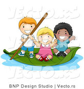 Vector of Group of 3 Happy Kids Floating on a Leaf Boat in a Small Pool of Water by BNP Design Studio