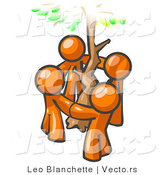 Vector of Group of 4 Orange Guy Standing in a Circle Around a Tree by Leo Blanchette