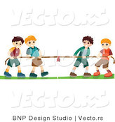Vector of Group of 4 Young Boys Playing Tug of War Game by BNP Design Studio