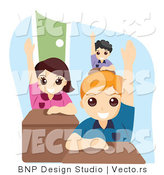 Vector of Group of Educated School Kids Raising Their Hands in Class by BNP Design Studio