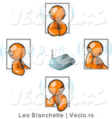 Vector of Group of Four Orange Business Guys Holding a Phone Conference and Wearing Wireless Bluetooth Headsets by Leo Blanchette