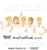 Vector of Group of Happy Blond White Women Wearing Matching White T Shirts by BNP Design Studio