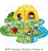 Vector of Group of Happy Boy Scouts Preparing Camp Site by BNP Design Studio