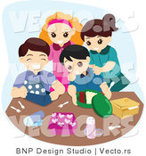 Vector of Group of Happy Children Unpacking Their Lunch Boxes by BNP Design Studio