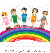 Vector of Group of Happy Kids Holding Hands While Standing over a Rainbow by BNP Design Studio