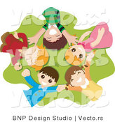 Vector of Group of Happy Kids Laying in a Circle on Grass by BNP Design Studio