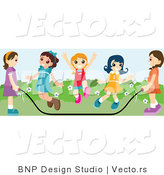 Vector of Group of Happy Young Girls Jumping Rope at Recess by BNP Design Studio