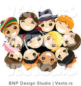 Vector of Group of Happy Young Kids in a Huddle, Looking up by BNP Design Studio