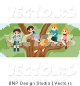 Vector of Group of Kids Playing in a Big Tree by BNP Design Studio