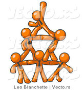 Vector of Group of Orange Business Guys Piling up to Form a Pyramid by Leo Blanchette