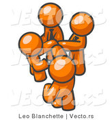 Vector of Group of Orange Guys Going in Together on a Deal by Leo Blanchette