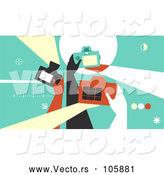 Vector of Group of Retro Photographer Hands Taking Pictures with Cameras by BNP Design Studio