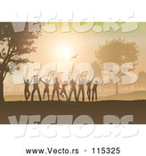Vector of Group of Silhouetted Dancers Having Fun at Sunset in the Country by KJ Pargeter