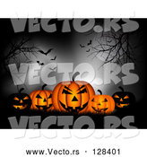 Vector of Group of Spooky Black and Orange Glowing Pumpkins in Silhouetted Grass, Under Trees, a Full Moon, Fog and Vampire Batss by KJ Pargeter