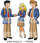 Vector of Group of Three Anime Stymed Teenage High School Studens in Uniforms by Clip Art Mascots