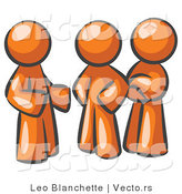 Vector of Group of Three Orange Guys Talking at the Office by Leo Blanchette
