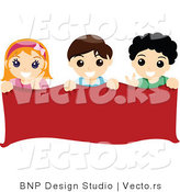 Vector of Group of Young Boys and a Girl Holding a Blank Red Banner by BNP Design Studio