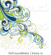 Vector of Grunge Blue, Green and Yellow Swirly Vines with Beige Splatters - Background Corner Border Design by OnFocusMedia