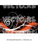 Vector of Grunge Orange and White Vines over Black Background by Michaeltravers