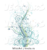 Vector of Grunge Pastel Blue, Purple and Green Vines Among Splatters and Butterflies - Background Design by MilsiArt