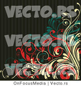 Vector of Grungy Beige, Red and Turquoise Vines over Dark Stripes Background Design by OnFocusMedia