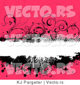 Vector of Grungy Black, White and Floral Pink Background with Splatters, Vines and Blank Copyspace by KJ Pargeter